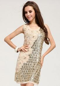 Daisy Pattern Sequined Dress