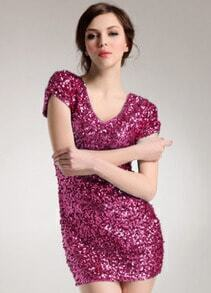 V Neck Sequined Bodycon Rose Red Dress