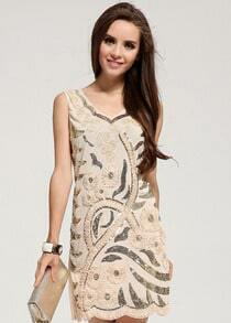Sleeveless Sequined Apricot Tank Dress