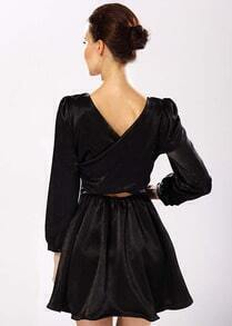 Backless Midriff Flare Dress