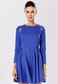 Hollow Flouncing Blue Dress