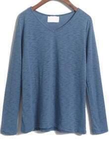 V Neck Loose Blue T-Shirt