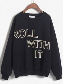 ROLL WITH IT Print Loose Navy Sweatshirt