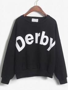 Derby Print Loose Black Sweatshirt