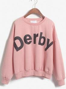 Derby Print Loose Pink Sweatshirt