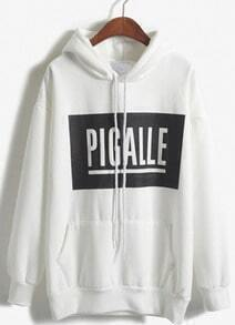 Hooded PIGALLE Print White Sweatshirt
