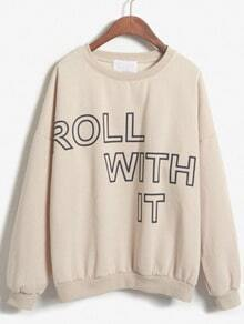 ROLL WITH IT Print Loose Apricot Sweatshirt