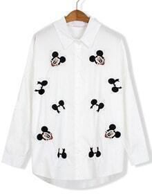 Mickey Embroidered Lapel Blouse