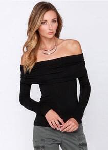 Off-shoulder Slim T-Shirt