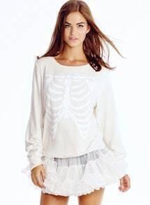 Skeleton Print Crop White Sweatshirt