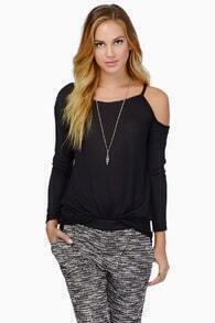 Off-shoulder Strap Black T-Shirt