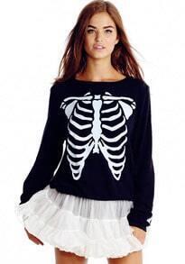 Skeleton Print Crop Black Sweatshirt