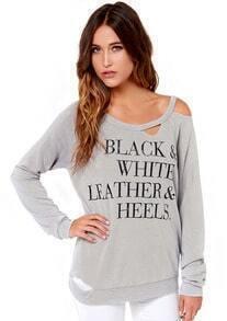 Letters Print Hollow Sweatshirt