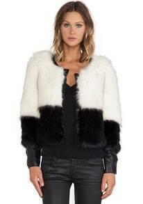 Colour-block Faux Fur Coat