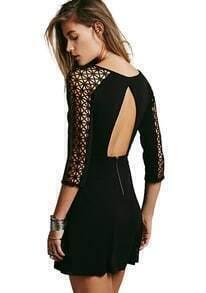 Backless Lace Flouncing Dress