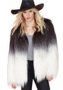 Colour-block Ombre Faux Fur Coat