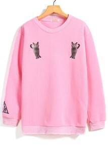 Cat Print Loose Pink Sweatshirt