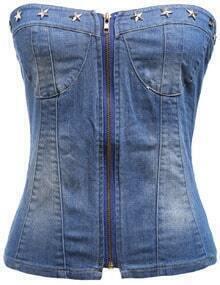 Strapless Zipper Bleached Denim Vest