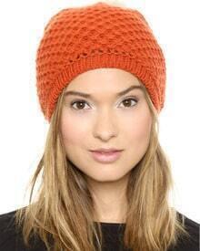 Plush Ball Knit Orange Hat