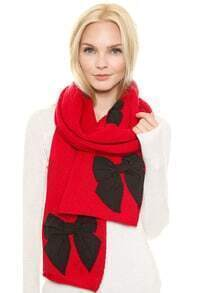 Bow Embellished Knit Red Scarf