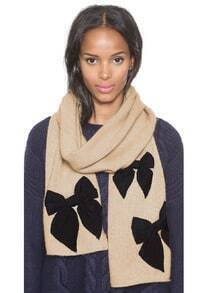 Bow Embellished Knit Brown Scarf