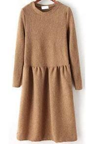 Round Neck Knit Khaki Sweater Dress