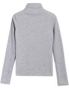 High Neck Knit Grey Sweater