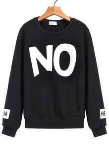 NO Print Loose Black Sweatshirt