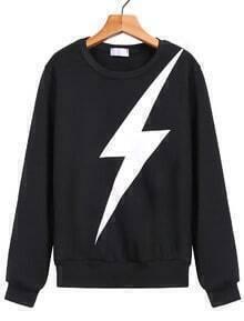 Lightning Print Loose Black Sweatshirt