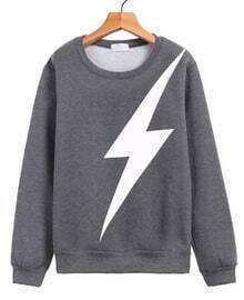 Lightning Print Loose Grey Sweatshirt