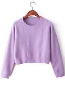 Crop Knit Purple Sweater