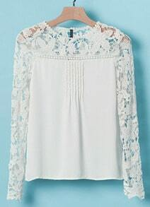 Hollow Lace Chiffon White Blouse