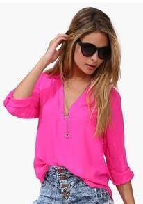 V Neck Loose Chiffon Rose Red Blouse