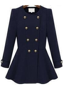 Double Breasted Flouncing Woolen Navy Coat
