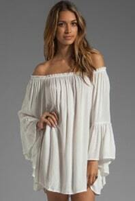 Off the Shoulder Loose Chiffon White Dress