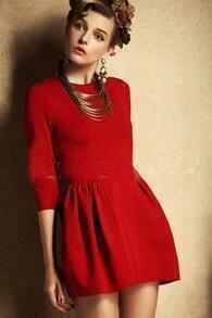 High Waist Flare Red Dress