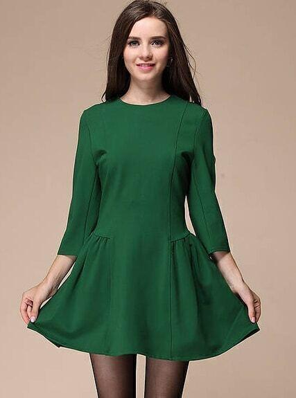 High Waist Flare Green Dress - $14.33