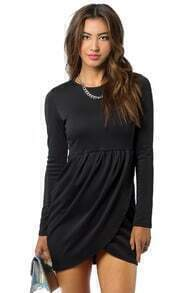 Slim Black Bodycon with Wrap Hem Dress