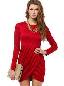 Slim Red Bodycon with Wrap Hem Dress