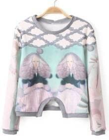 Beauty Print Crop Sweatshirt