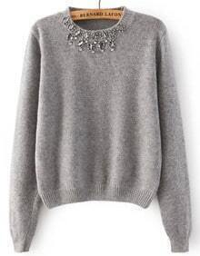 Beaded Neck Knit Grey Sweater