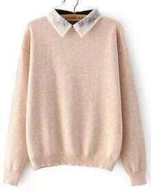 Lace Lapel Loose Pink Sweater