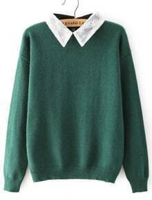 Lace Lapel Loose Green Sweater