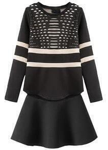 Striped Hollow Loose Top With Skirt
