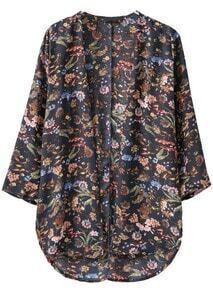 Floral Print High-Low Black Kimono