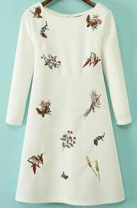 Embroidered Floral Pattern White Dress