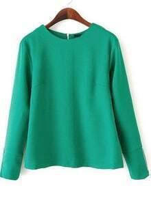 Zipper Loose Green Blouse
