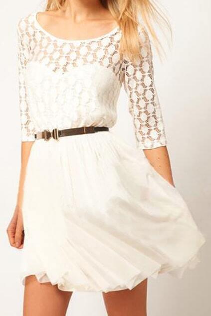 Romwe Double-layered Hollowed White Dress - $15.90