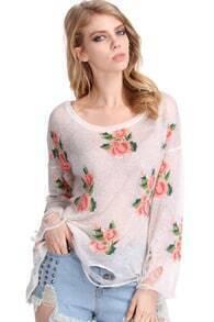 Floral Printed White Irregular Sweater