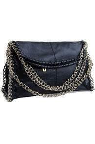 Retro Style Chain Detailed Black Bag